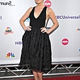 "Amber Heard first earned bombshell points in this ""Mod Marilyn"" dress by Honor at NBC's Universal Press Tour All Star party in LA in August 2011."