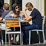 Elizabeth Olsen chatted with Boyd Holbrook over lunch in New Orleans.