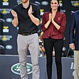 Meghan wore the exact same jeans with a cranberry Theodore Scanlan jacket and Sarah Flint pumps for the Invictus Games in Sydney.