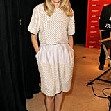 Naomi Watts chose an ultratextured cream-colored day dress for her appearance at the Variety studio.