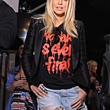 This is the all out cool-girl version of cutoffs: Fergie rocks hers with a blazer and a graffiti-print tee — reminding us that cutoffs were made to be paired with our favourite vintage tees.
