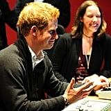 Prince Harry visited the Confetti Institute of Creative Technologies on Thursday while in Nottingham, England.