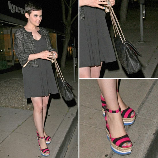 Ginnifer Goodwin Striped Espadrilles