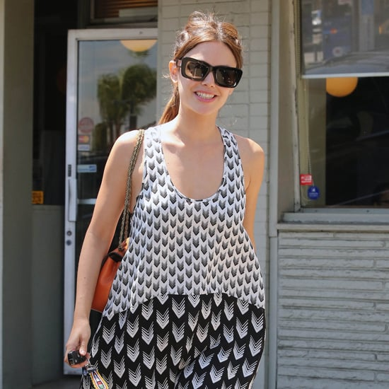Rachel Bilson Wearing Black and White Print Dress
