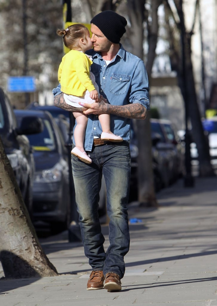 Harper Beckham shared a sweet kiss with her dad, David Beckham, on a sunny father-daughter stroll in London.