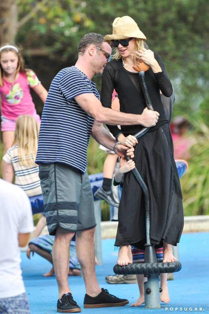 Naomi Watts and Liev Schreiber proved even parents could join in on the playground fun!