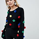 PrettyLittleThing Holidays Sweater with Pom Poms