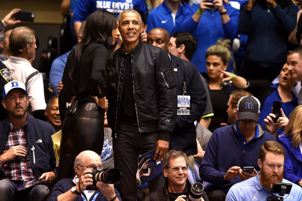 """Barack Obama Got a WILD Welcome at Duke University, and I'm Still Not Over His """"44"""" Jacket"""