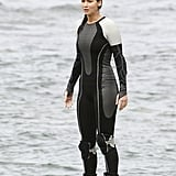 Jennifer Lawrence wore a wet suit in Hawaii.