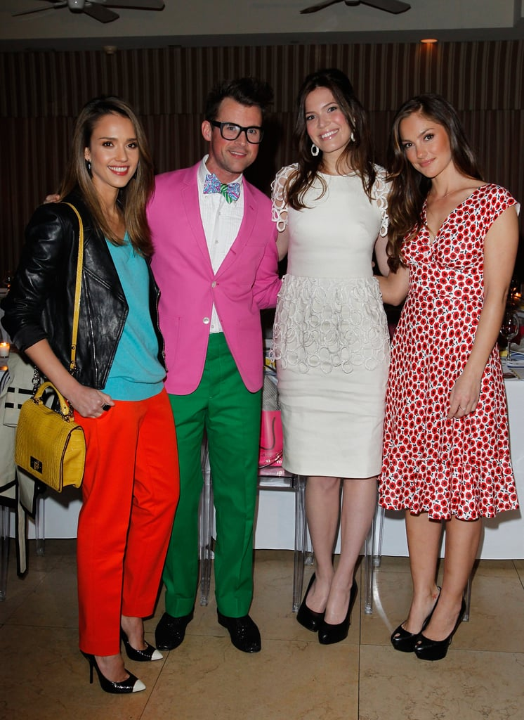 Brad Goreski had plenty of support from friends last night at a dinner hosted by Kate Spate and the brand's president Deborah Lloyd. Brad, who is their exclusive stylist, was joined by party goers in celebrating the launch of his new book Born to Be Brad. Jessica Alba, Minka Kelly, Mandy Moore, and Ahna O'Reilly gathered for the fete at Sunset Tower where they posed with Brad and got goofy with paper pairs of his signature glasses. The Kate Spade party decor also included napkins featuring Brad's face and colorful centerpieces. The ladies all wore looks from Kate Spade with Jessica in red pants and a blue shirt, Minka wearing a printed dress, and Mandy keeping things neutral in white.