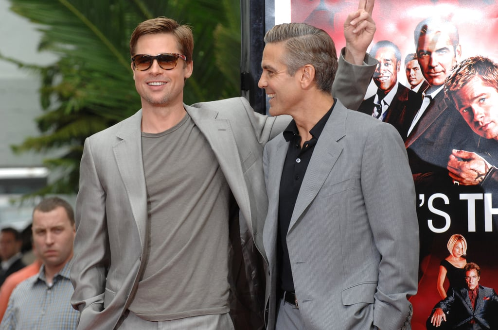 Consider this our formal request for more films starring George Clooney and Brad Pitt. Not only are the two actors some of the best of their time, but they also turn every premiere, photo call, and red carpet event into a downright delight to witness since they're pretty much constantly laughing and struggling to keep it together. (They're also easy on the eyes, so, that helps.) After first working closely in 2001's Ocean's Eleven, George and Brad have gone on to appear together in two additional sequels, the Coen brothers's Burn After Reading in 2008, and the one-night Los Angeles debut of 8, a play about the events leading up to the overturn of Proposition 8. It's been a few years since they last worked together, however, but at least we have the following photos to tide us over in the meantime.