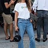 Miroslava Duma Wore a Google Tee With Frayed Denim and Green Heels