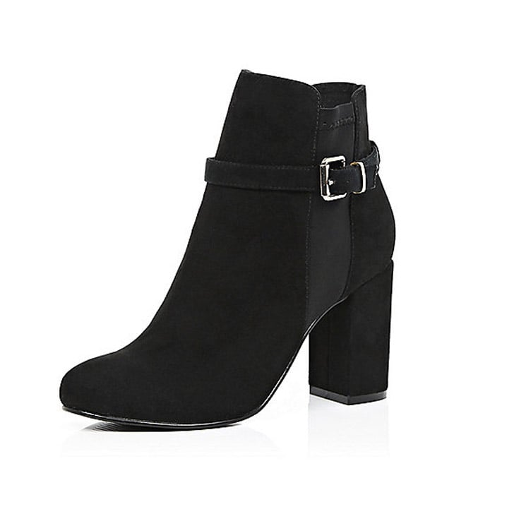 River Island Black Faux-Suede Belted Boot ($100)