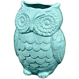Aqua Blue Owl Design Ceramic Cooking Utensil Holder
