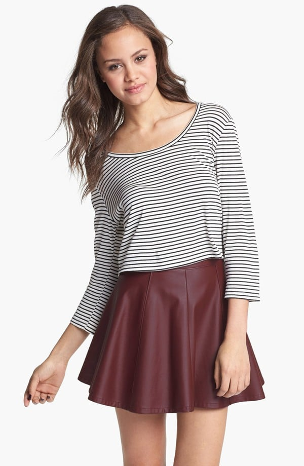 Wear this faux-leather Lily White skirt ($29, originally $44) now with a breezy tank and later with dark tights.