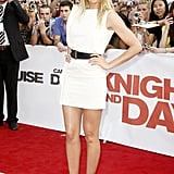 Among the Knight and Day promotional dresses Cameron Diaz wore was this white Bottega Veneta mini cinched with a black belt.