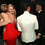 Jennifer Lawrence hugged winner Cate Blanchett backstage after presenting Matthew McConaughey with his best actor statue.