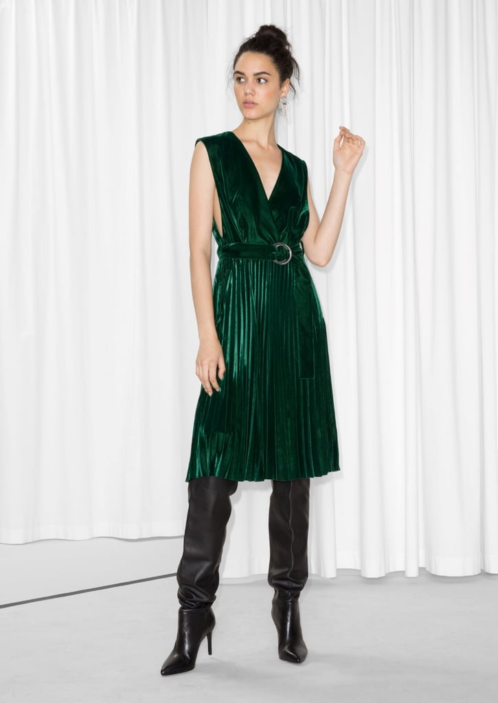& Other Stories Pleated Velvet Dress (£89)