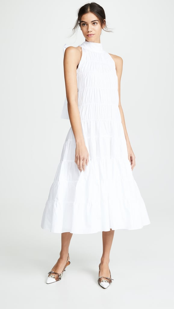 Anais Jourden Gathered Midi Dress With Back Tie