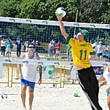 He competed in a game of beach volleyball on his tour of Brazil in March 2012.