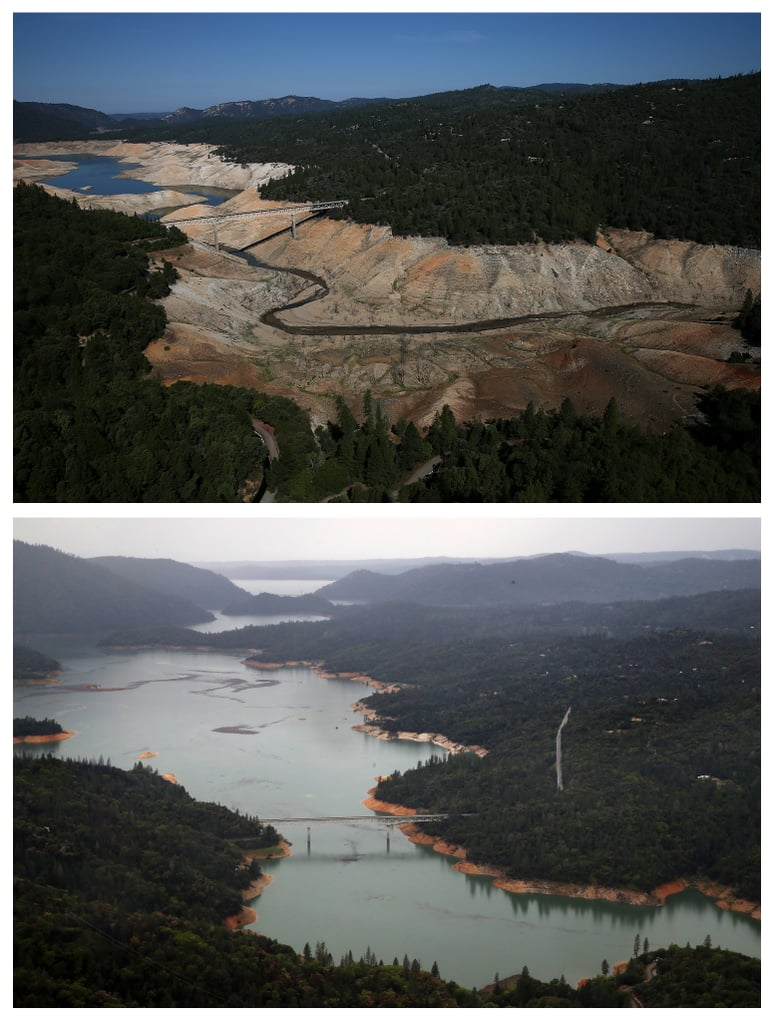 Lake before and after Lake Oroville Getty images