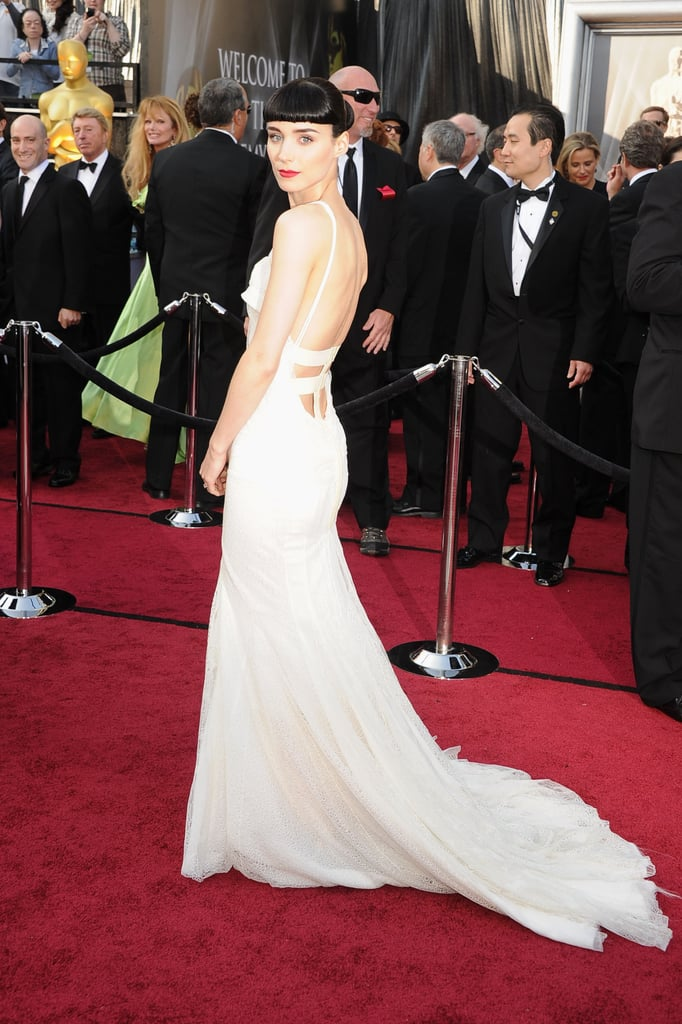 Rooney Mara's Givenchy dress was ethereal, but from the back, it was cut super low with sexy lace straps.
