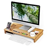 SONGMICS Bamboo Wood Monitor Stand
