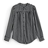 Silky Shirred Button Up in Jet Black/Pristine Stripe