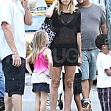 Heidi Klum and Leni Samuel wore shorts and sandals.