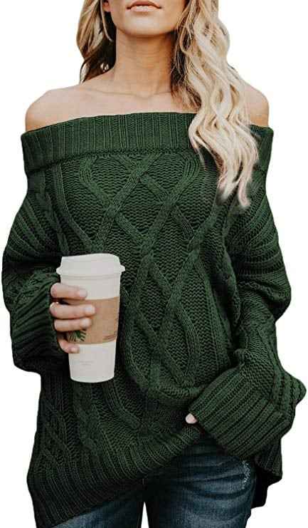 Astylish Knitted Off-the-Shoulder Oversized Sweater in Green