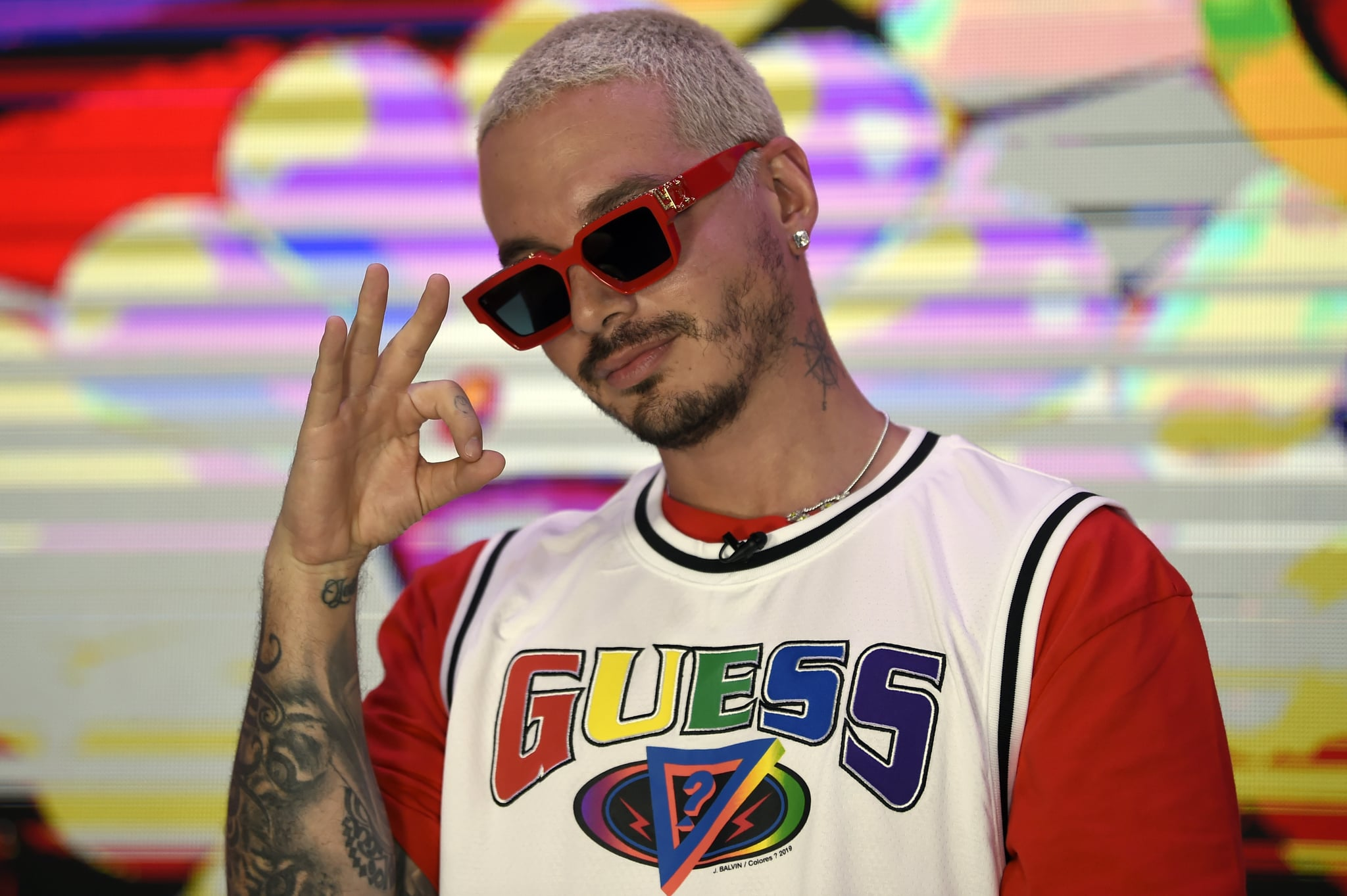 Colombian musician and composer Jose Alvaro Osorio Balvi aka J Balvin poses during a photo call at the Universal Music offices in Mexico City on March 3, 2020. - Colombian musis star J Balvin launched his new album