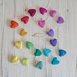 Rainbow Felted Heart Garland