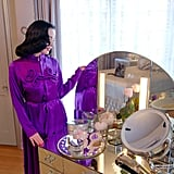 Dita's vanity is from the 1930s, and she's has to wax down certain items to keep her cat from knocking them off.