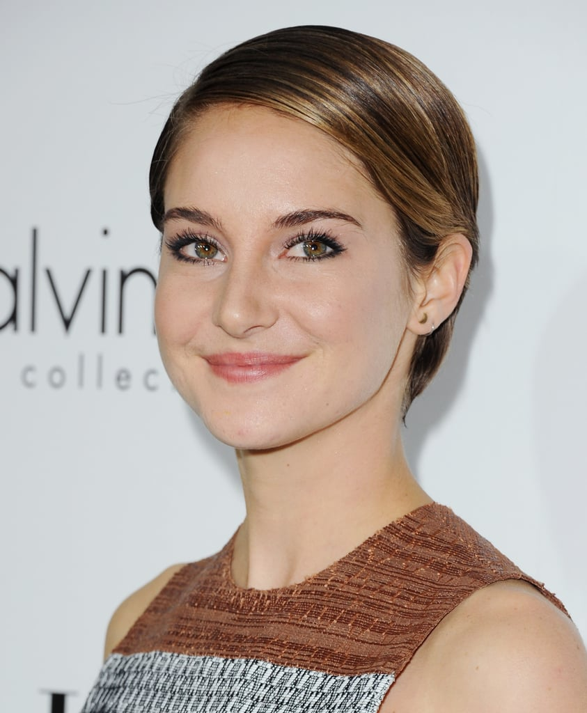 Shailene Woodley debuted her new short hair to the fullest with a slicked-back look and minimal makeup.