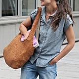 Katie Holmes tucked one hand in her pocket while walking in NYC.