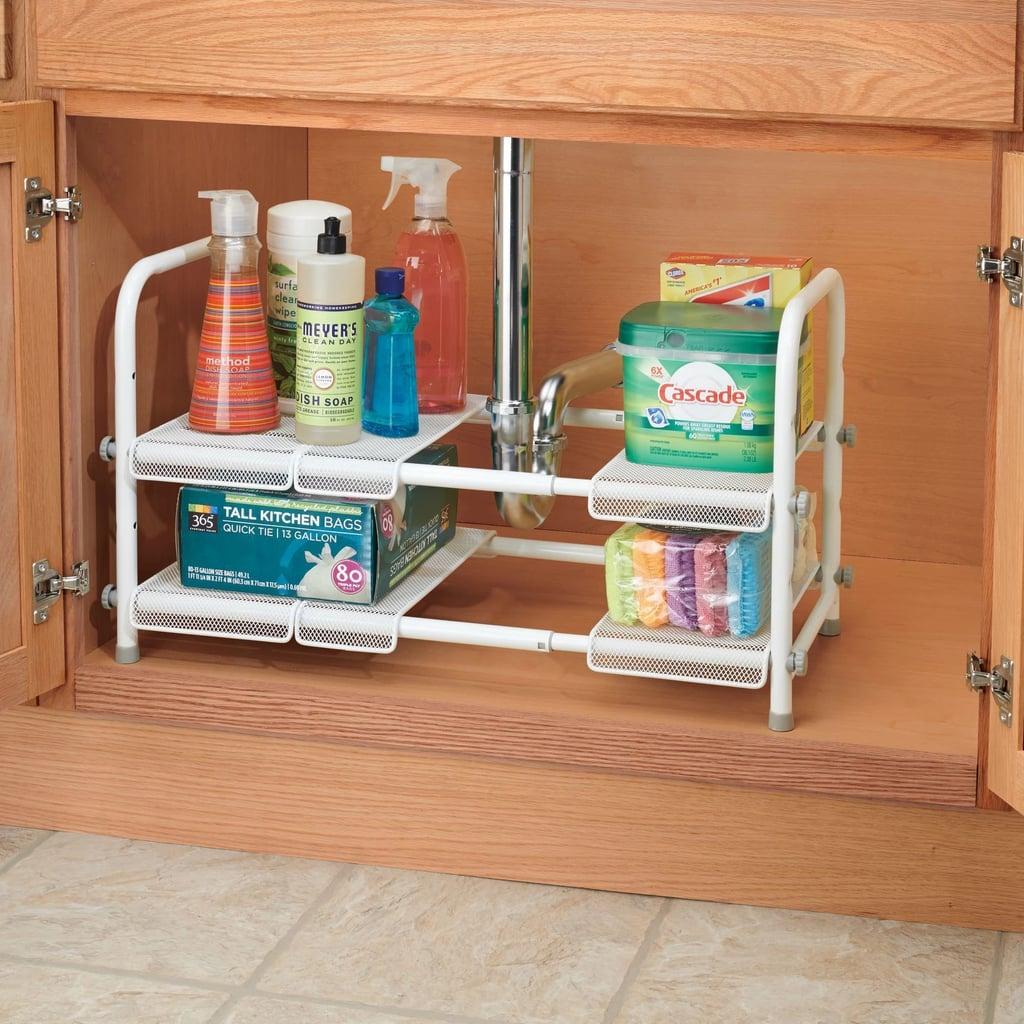 InterDesign Under Sink Organiser With Adjustable Shelf Silver