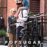 Sasha Schreiber got a ride on his dad Liev Schreiber's shoulders before a bike ride with mom Naomi Watts in NYC.