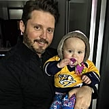"""River & daddy hanging at the game :) #GoPreds"""