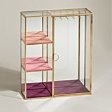 Oliver Bonas Gold & Glass Pink Jewellery Cabinet