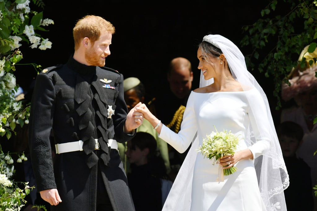 "Prince Harry and Meghan Markle tied the knot in a gorgeous ceremony at St. George's Chapel in England on May 19, 2018. Meghan, who arrived at the chapel with her mother, Doria Ragland, was a vision in a white dress by Clare Waight Keller, while Harry looked as handsome as ever in his military uniform. The couple was joined by Harry's older brother, Prince William, and Meghan's best friend, Jessica Mulroney, as they walked down the aisle at Windsor Castle. They exchanged vows in front of the royal family, close friends — including Priyanka Chopra, Serena Williams, George and Amal Clooney, and David and Victoria Beckham — and 1,200 members of the public. Members of their wedding party included Prince George and Princess Charlotte, who also had roles as a pageboy and flower girl, respectively.      Related:                                                                                                           100+ Times Harry and Meghan Showed Us That They're the Perfect Royal Match               During the ceremony, Meghan walked down the aisle by herself and was helped at the quire by Prince Charles. She was originally set to walk with her father, Thomas Markle, but news broke earlier that week that Thomas had decided not to attend the wedding after he was caught staging photos of himself with the paparazzi as well as undergoing heart surgery. Harry and Meghan's hour-long ceremony also featured a heartfelt reading by the late Princess Diana's sister Lady Jane Fellowes, who gave the reading from the Song of Solomon. After saying ""I do,"" Harry and Meghan left the church for their carriage procession in the Ascot Landau, which was often used by Princess Diana during her time as a member of the royal family. It's also the same carriage Harry rode in during his brother's wedding to Kate Middleton in 2011. After a lunch reception — which featured a performance by Elton John — the happy couple changed into new looks and took off for their private evening reception, which was hosted by Prince Charles for the couple and their close friends and family. Meghan swapped her wedding gown for a sexy, sleeveless Stella McCartney gown. Harry and Meghan first struck up a relationship in May 2016. They made their public debut as a couple at Harry's Invictus Games in September 2017 and announced their plans to marry two months later. Since then, they have shared a number of adorable moments together."