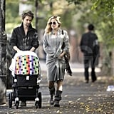 Kate Hudson and Matt Bellamy stroll London with their son.