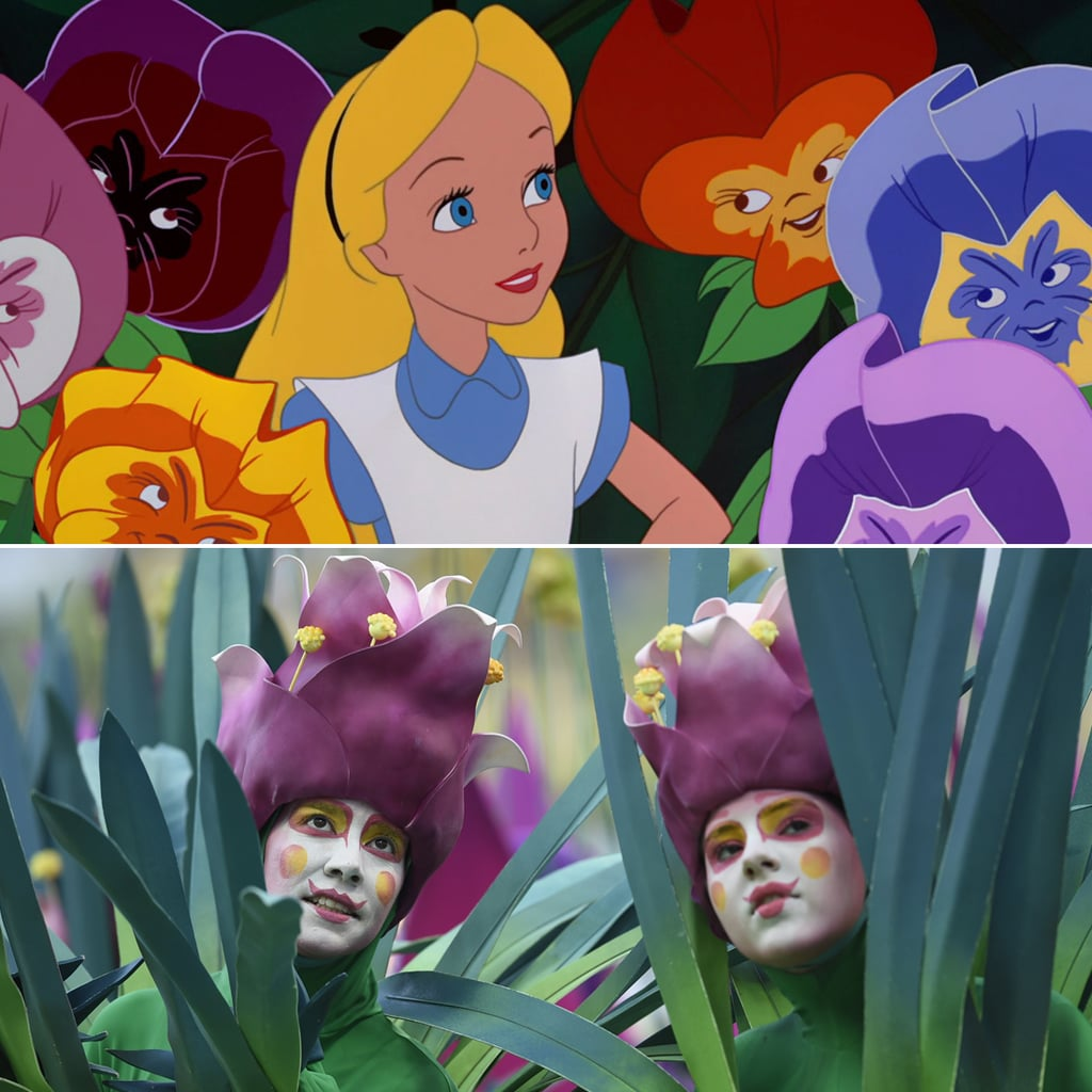 The dancers dressed as flowers look an awful lot like the Alice in Wonderland flowers.