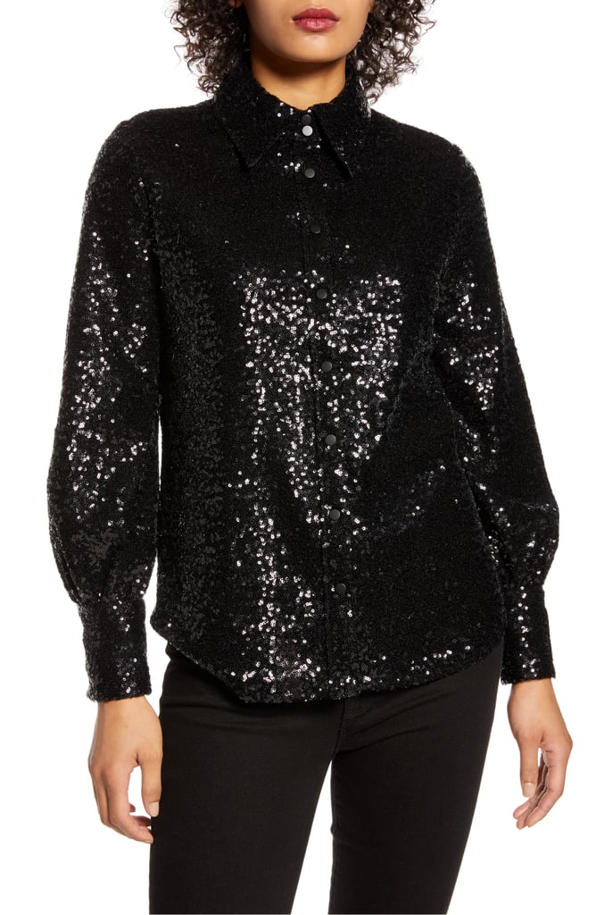 Halogen x Atlantic-Pacific Bishop Sleeve Sequin Shirt