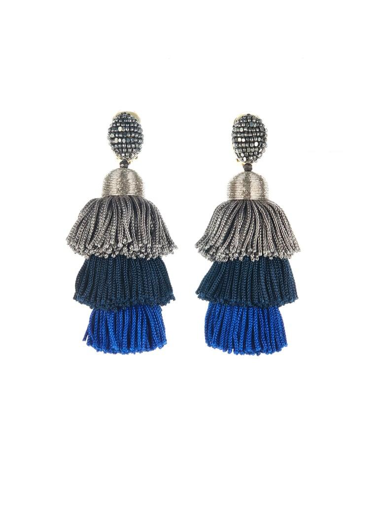 These showstopping Oscar De La Renta Tiered Tassel Silk Earrings ($450) were made for bare shoulders.
