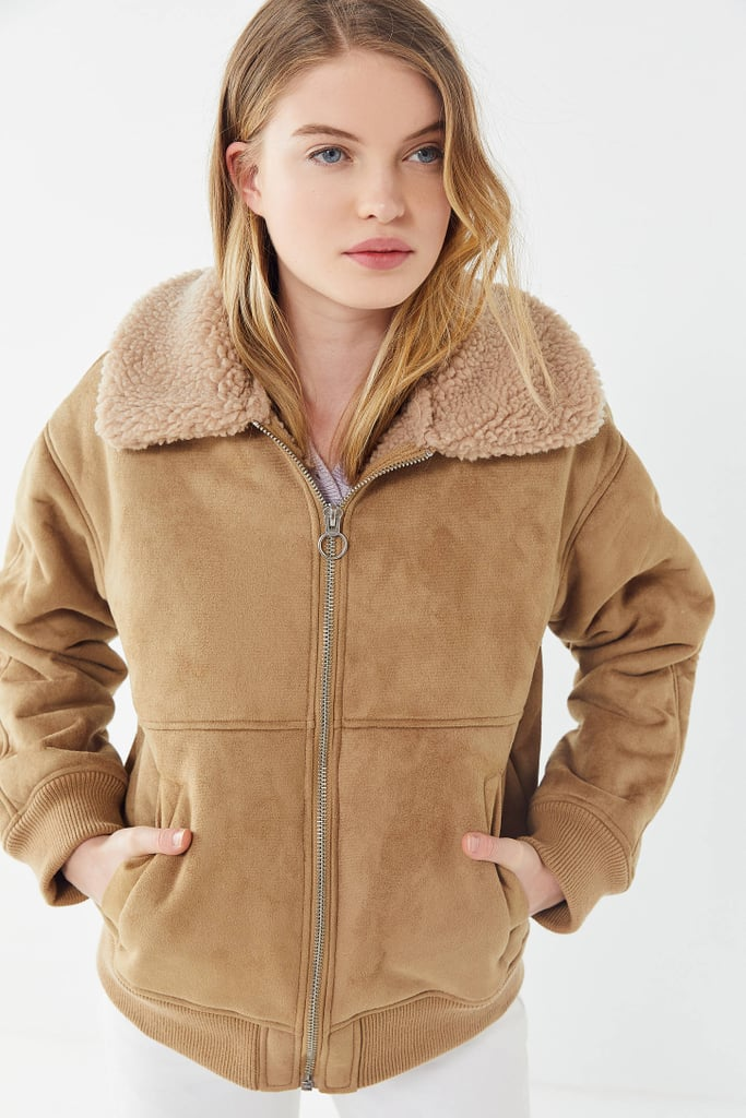 2fc1e9c60bf UO Faux Suede Sherpa Bomber Jacket | Best Spring Jackets | POPSUGAR ...