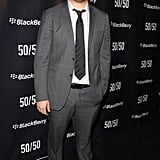 Seth Rogen was happy to swing by the 50/50 premiere party at the Toronto Film Festival.