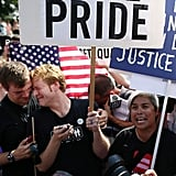 Couples held each other outside the US Supreme Court in Washington DC.