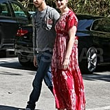 Anne Hathaway and Adam Shulman hung out in LA during April 2010.
