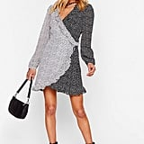 Mini Wrap Dress with Contrasting Heart Print