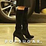 Angelina Jolie Wearing Black Suede Boots